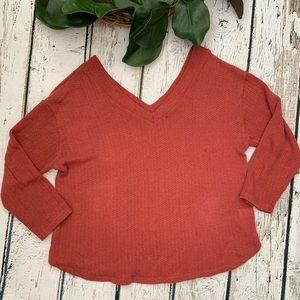 Sadie & Love Orange Vneck Oversized Knit Sweater L